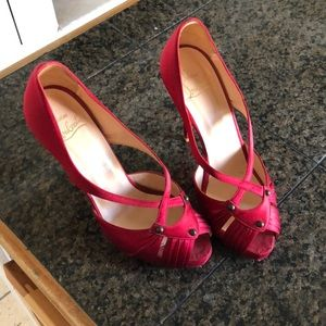 Louboutin red satin shoes